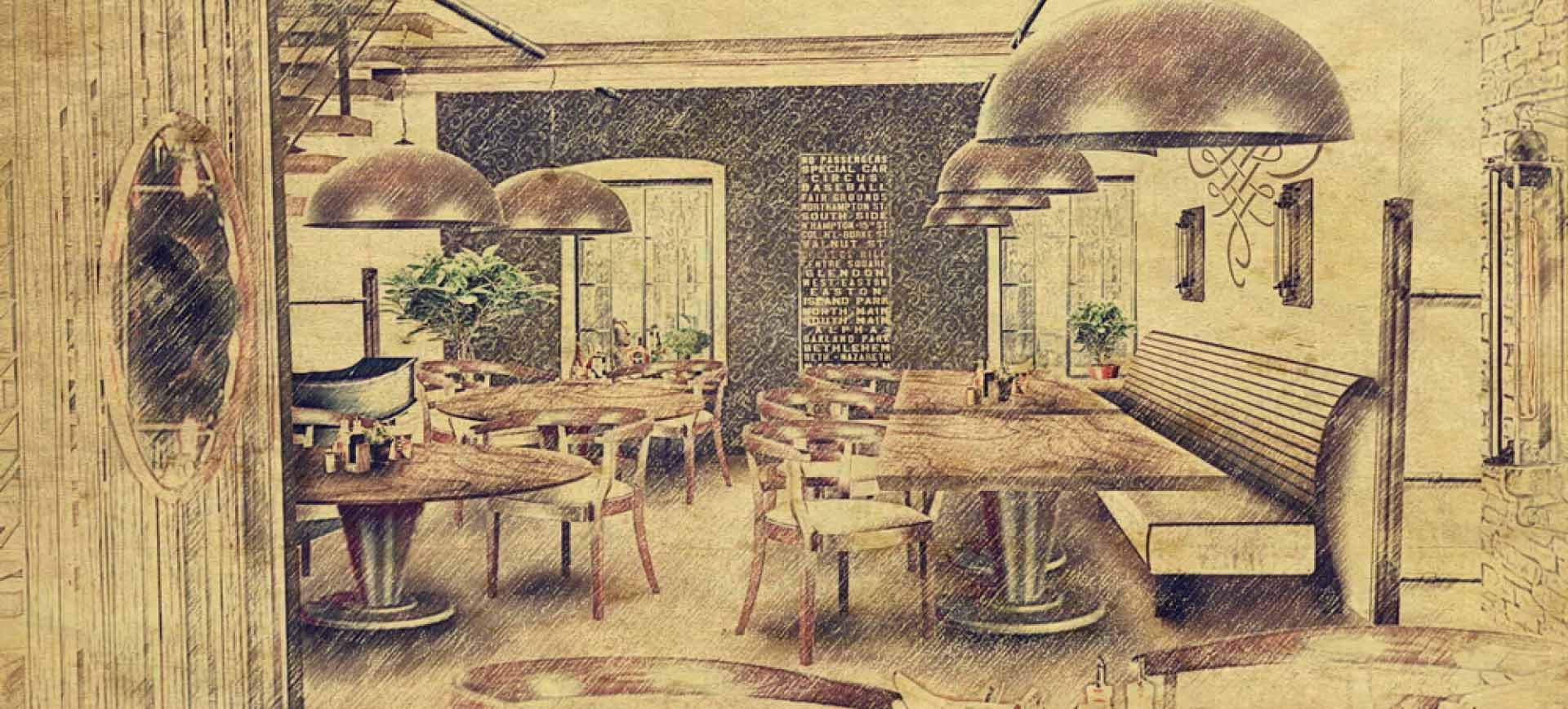 Stodola Herink nákres interiéru restaurace