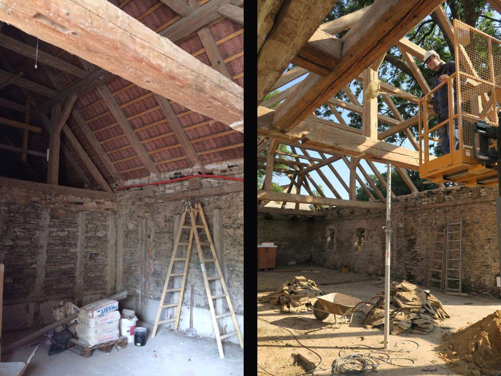 Stodola Herink - rekonstrukce střechy pivnice